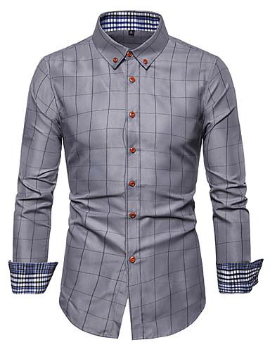 voordelige Herenoverhemden-Heren Standaard Print Overhemd Geometrisch / Blokken Wijn