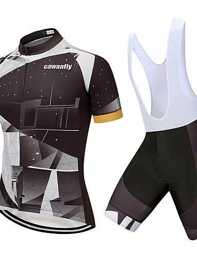 povoljno Odjeća za vožnju biciklom-CAWANFLY Muškarci Žene Kratkih rukava Biciklističke kratke hlače s jastučićima Biciklistička majica Biciklistička majica s kratkim hlačama Crn Bicikl Quick dry Sportski Spandex Geometic Brdski