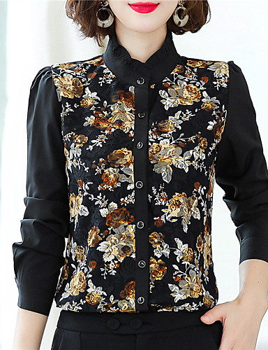 billige Topper til damer-Skjorte Dame - Blomstret Chinoiserie Svart