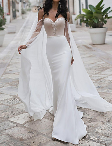 cheap Wedding Dresses-Mermaid / Trumpet Sweetheart Neckline Sweep / Brush Train Polyester Long Sleeve Romantic See-Through / Illusion Detail / Backless Wedding Dresses with Crystals 2020 / Yes