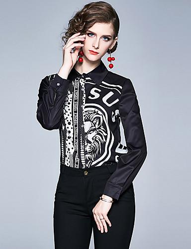 billige Skjorter til damer-Skjorte Dame - Polkadotter / Dyr / Bokstaver, Lapper / Trykt mønster Vintage / Elegant Svart