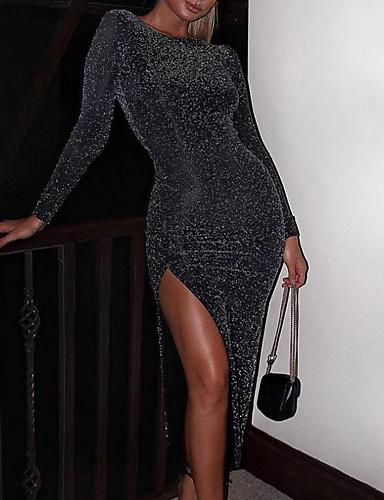 levne Maxi šaty-Dámské Pouzdro Šaty - Jednobarevné Asymetrické