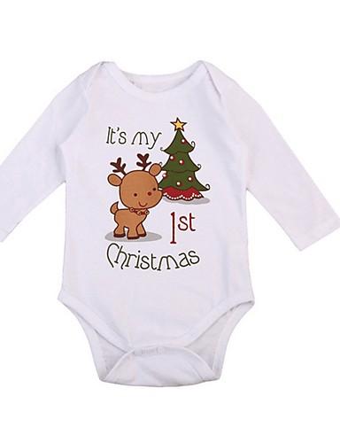 preiswerte Baby & Kinder-Baby Jungen Street Schick Druck / Weihnachten Langarm Baumwolle Einzelteil Weiß