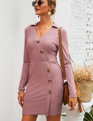 levne Pracovní šaty-Dámské Základní Šik ven A Line Šaty - Jednobarevné Květinový, Tisk Délka ke kolenům