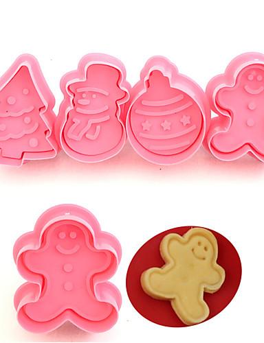 povoljno Božićna kupaonica-4pcs roditelj-dijete božićni diy fondant keramički kalupi kolačići alati za ukrašavanje torta