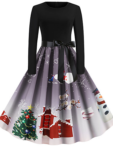 cheap Christmas Costumes-Audrey Hepburn Dress Adults' Women's Retro Vintage Christmas Christmas Festival / Holiday Polyester Black Women's Carnival Costumes