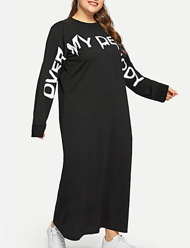 levne Šaty velkých velikostí-Dámské Šik ven Tričko Šaty - Jednobarevné Písmeno Nad kolena