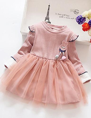 Gyerekek Lány Édes aranyos stílus Virágos Háló Kollázs Hosszú ujj Térd feletti Ruha Arcpír rózsaszín