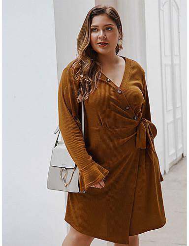 preiswerte Übergrössen-Damen-Damen Grundlegend Elegant A-Linie Kleid - mit Schnürung, Solide Knielang