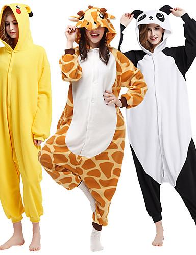 preiswerte Kigurumi Pyjamas-Erwachsene Kigurumi-Pyjamas Pika Pika Tier Pyjamas-Einteiler Polar-Fleece Schwarz / Weiß / Orange Cosplay Für Herren und Damen Tiernachtwäsche Karikatur Fest / Feiertage Kostüme