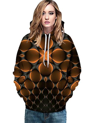 billige Dametopper-Dame Grunnleggende / Gatemote Hattetrøje Geometrisk / Trykt mønster / 3D