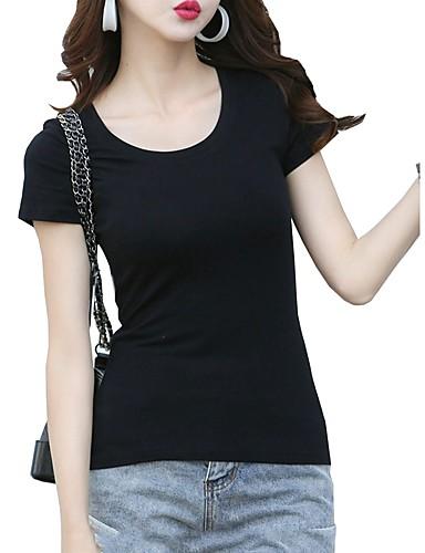 billige Dametopper-T-skjorte Dame - Ensfarget Svart