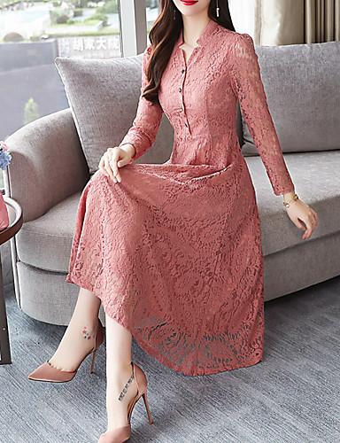 levne Maxi šaty-Dámské Čínské vzory Elegantní A Line Šaty - Jednobarevné, Krajka Patchwork Midi