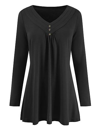 billige Skjorter til damer-tunika Dame - Ensfarget, Flettet Grunnleggende / Gatemote Svart
