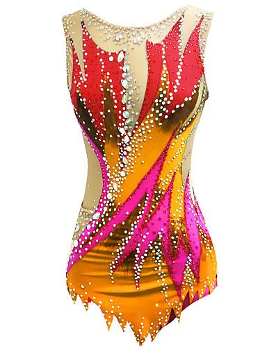 povoljno Vježbanje, fitness i joga-Triko za ritmičku gimnastiku Trikoi za ritmičku gimnastiku Žene Djevojčice Triko za vježbanje Crn Visoka elastičnost Ručno izrađen Print Jeweled Bez rukávů Natjecanje Klizanje na ledu Ritmička