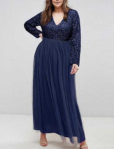 voordelige Grote maten jurken-Dames Standaard Recht Jurk - Effen, Pailletten Maxi