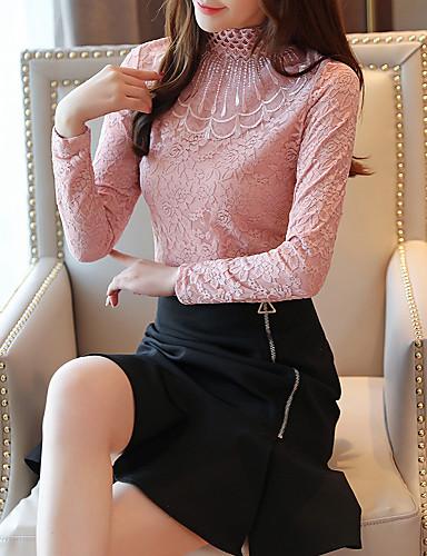 billige Dametopper-Skjorte Dame - Blomstret, Blonde / Lapper Vintage / Elegant Svart