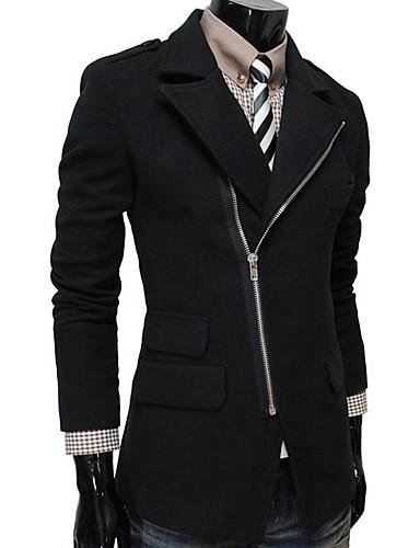 Férfi Napi Ősz & tél EU / USA méret Szokványos Kabát, Egyszínű Térfogatcsökkenés Hosszú ujj Poliészter Fekete