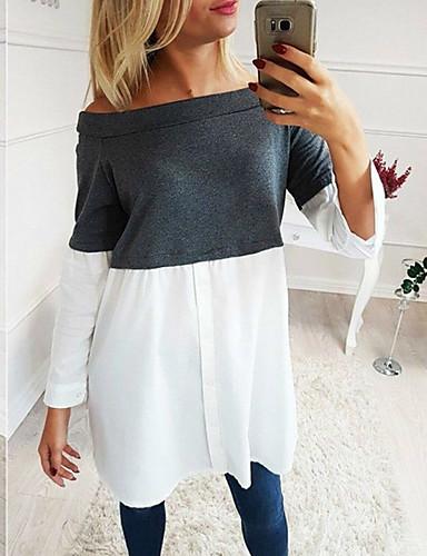billige Skjorter til damer-Skjorte Dame - Fargeblokk Grunnleggende Lyseblå