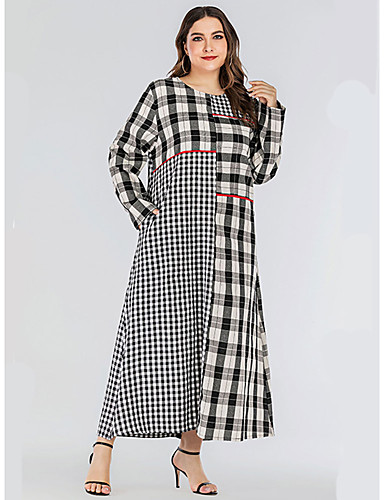 voordelige Grote maten jurken-Dames Standaard Wijd uitlopend Jurk - Blokken, Patchwork Maxi