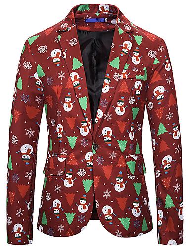 voordelige Herenblazers & kostuums-Heren Blazer, Bloemen / Geometrisch Ingesneden revers Polyester / Spandex Wijn / blauw