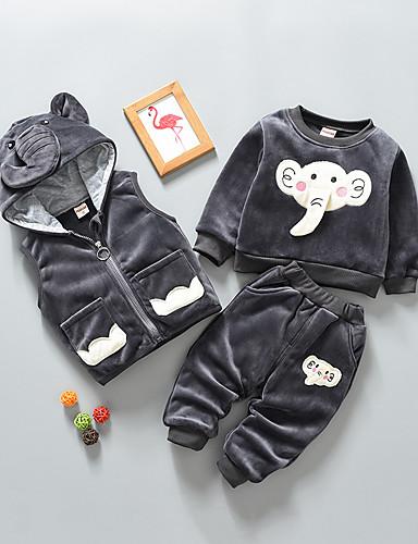 preiswerte Mode für Jungs-Baby Jungen Grundlegend Solide Langarm Standard Standard Kleidungs Set Schwarz