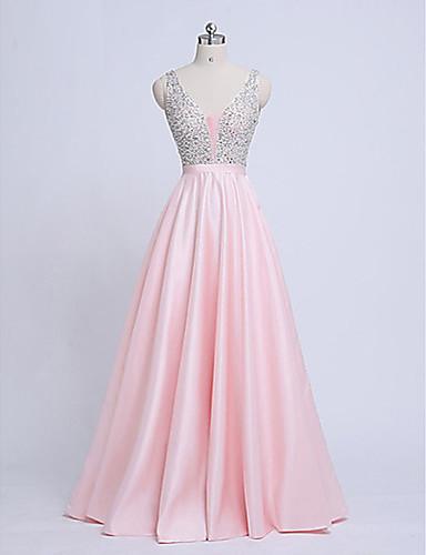 levne Maxi šaty-Dámské A Line Šaty - Jednobarevné, Korálky Maxi Do V / Sexy