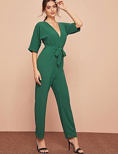 billige Dametopper-Dame Gatemote / Sofistikert Grønn Kjeledresser, Ensfarget Lapper / Snorer S M L