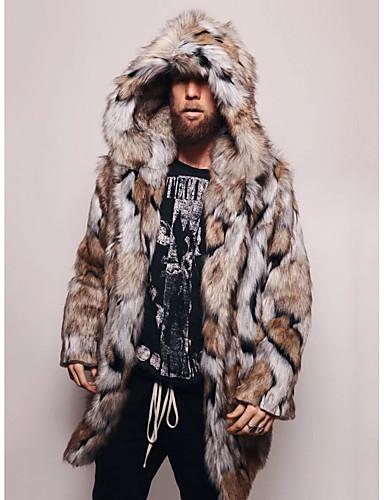 levne Pánská saka a kabáty-Pánské Denní / Jdeme ven Základní Podzim zima Standardní Faux Fur Coat, Batikované Kapuce Dlouhý rukáv Umělá kožešina Hnědá