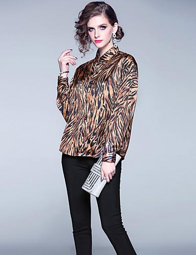 billige Dametopper-Skjorte Dame - Leopard, Lapper Vintage / Elegant Kakifarget