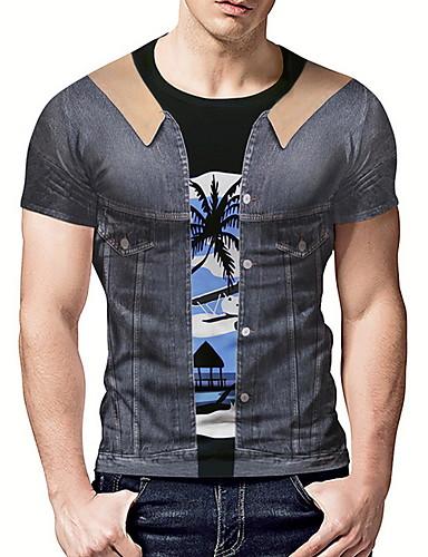 voordelige Heren T-shirts & tanktops-Heren T-shirt Kleurenblok Grijs