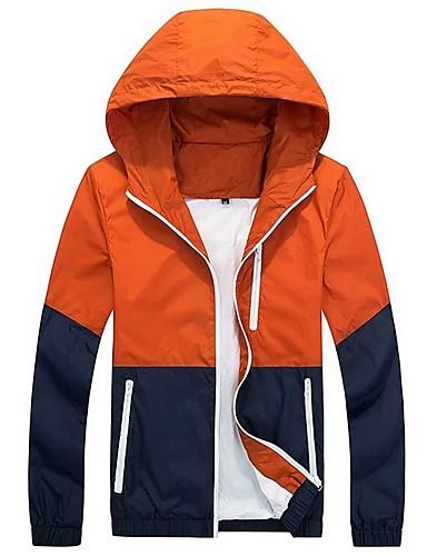 levne Pánská saka a kabáty-Pánské Denní Standardní Bunda, Barevné bloky Kapuce Dlouhý rukáv Polyester Světle šedá / Oranžová / Námořnická modř