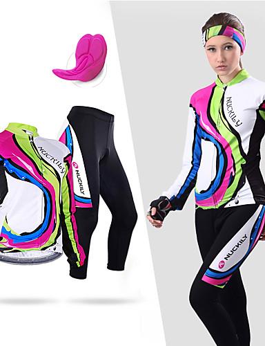 povoljno Odjeća za vožnju biciklom-Nuckily Žene Dugih rukava Biciklistička majica s tajicama Obala Crn Cvjetni / Botanički Bicikl Sportska odijela Vjetronepropusnost Prozračnost Anatomski dizajn Reflektirajuće trake Povratak džep