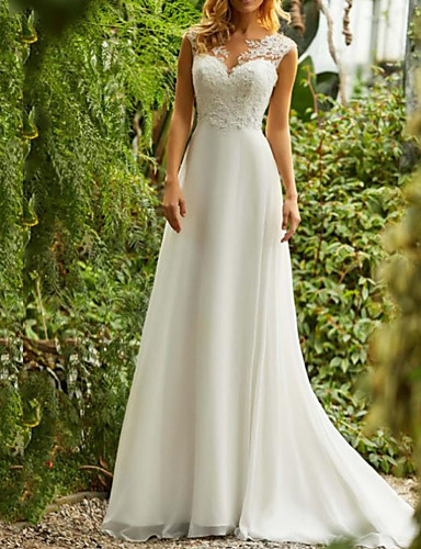 cheap Boho Wedding Dresses-A-Line V Neck Sweep / Brush Train Chiffon Regular Straps Beach / Boho Illusion Detail / Backless Wedding Dresses with Lace Insert 2020
