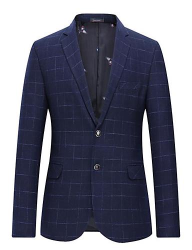 voordelige Herenblazers & kostuums-Heren Pakken, Effen Overhemdkraag Polyester Marineblauw
