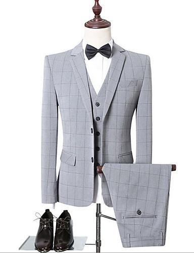 voordelige Herenblazers & kostuums-Heren Pakken, Ruitjes Ingesneden revers Polyester Zwart / Lichtgrijs
