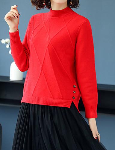 Női Egyszínű Hosszú ujj Pulóver Pulóver jumper, Magasnyakú Ősz / Tél Fekete / Arcpír rózsaszín / Medence Egy méret