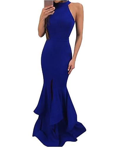 levne Maxi šaty-Dámské Bodycon Šaty - Jednobarevné Maxi Lodičkový