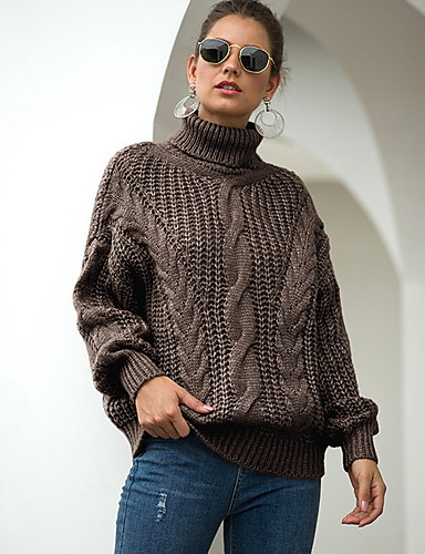 billige Dametopper-Dame Ensfarget Langermet Pullover Genserjumper, Rullekrage Svart / Hvit / Gul S / M / L