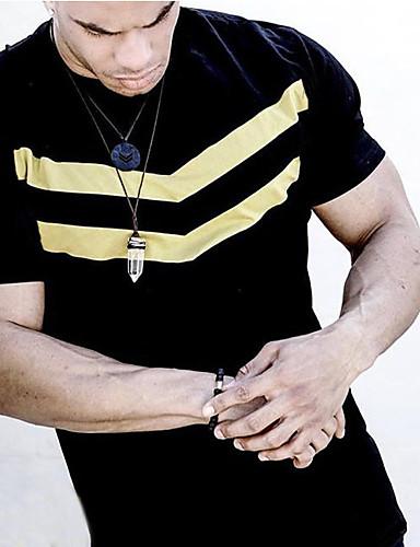 voordelige Heren T-shirts & tanktops-Heren T-shirt Gestreept Zwart