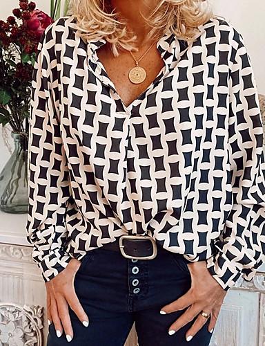 billige Dametopper-Skjorte Dame - Geometrisk Hvit