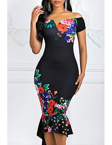 cheap Print Dresses-Women's Asymmetrical Bodycon Dress - Floral Off Shoulder Black White S M L XL