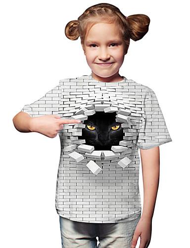 Gyerekek Kisgyermek Lány Aktív Alap Cica Mértani Nyomtatott Színes Nyomtatott Rövid ujjú Póló Fehér