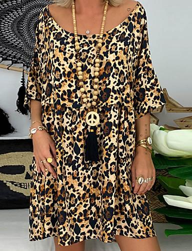 levne Šaty velkých velikostí-Dámské Pouzdro Šaty - Proužky Leopard Nad kolena