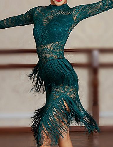 preiswerte Bestseller-Latein-Tanz Kleider Damen Leistung Tüll Quaste Kleid