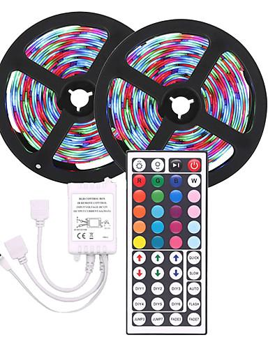 preiswerte LED-Lichter-LED-Streifen Licht (2 * 5m) 10m 3528 RGB 600led Streifen Beleuchtung flexible Farbwechsel mit 44 Tasten IR-Fernbedienung ideal für Zuhause Küche Weihnachten TV-Hintergrundbeleuchtung DC 12V