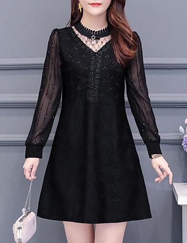 levne Šaty velkých velikostí-Dámské Šik ven Elegantní A Line Šaty - Jednobarevné, Plisé Nad kolena Do V