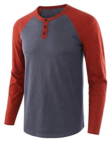 voordelige Heren T-shirts & tanktops-Heren T-shirt Kleurenblok Licht Bruin