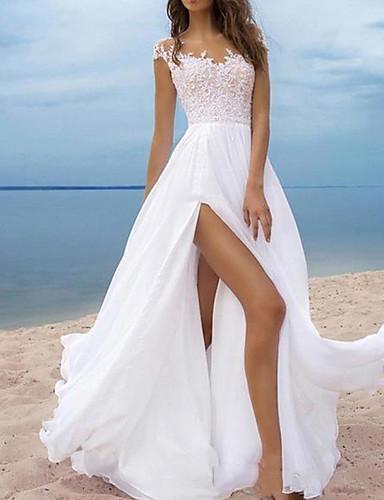 cheap Beach & Honeymoon Dresses-A-Line Wedding Dresses Off Shoulder Sweep / Brush Train Chiffon Cap Sleeve with Lace Insert Split Front 2020