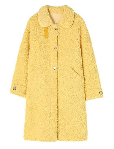 levne Dámské kabáty a trenčkoty-Dámské Denní Podzim zima Standardní Kabát, Jednobarevné Přehnutý Dlouhý rukáv Polyester Bílá / Žlutá / Vodní modrá